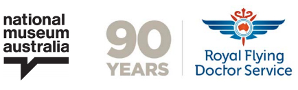 Logos for National Museum of Australia and the Royal Flying Doctor Service - 90 years.