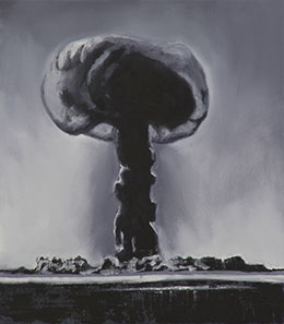 A black and white artwork depicting an explosion.