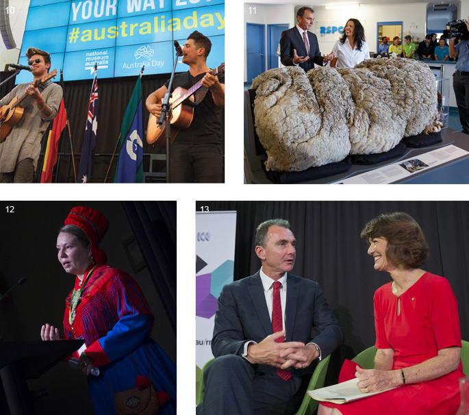 Four images (clockwise from top left): two men with guitars, performing on a stage; a man and woman stand in front of a large sheep's fleece; a man and woman in discussion in front of an 'RN' banner; a speaker at the Encounters conference.