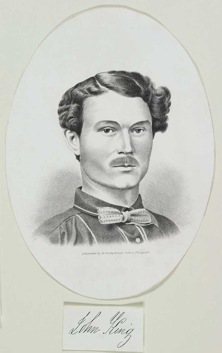 Lithograph of young man with wavy hair, moustache and bowtie. - click to view larger image