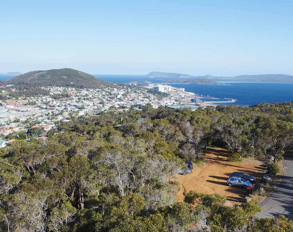 A view of the town of Albany on the Western Australian coastline.