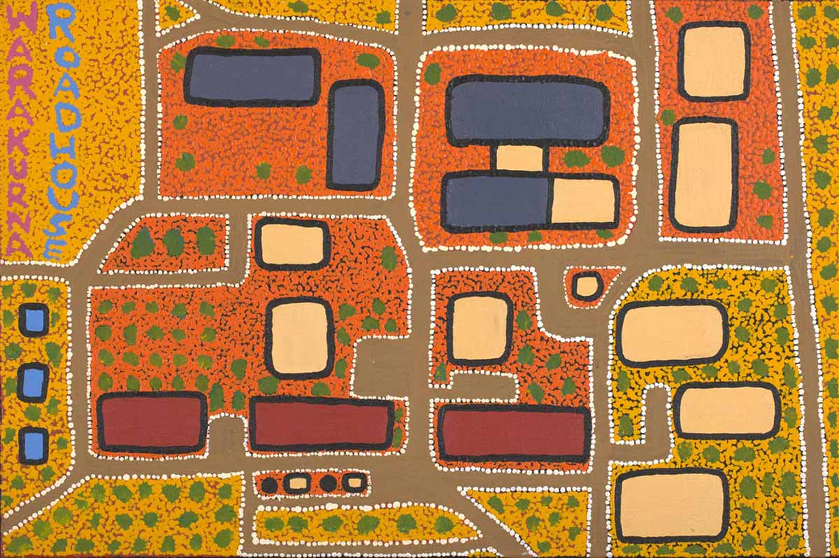 An acrylic painting on canvas showing red, yellow and blue rectangles against a dot infill background in yellow, green and orange. Text running vertically along the left hand side reads 'WARAKURNA ROADHOUSE'. - click to view larger image