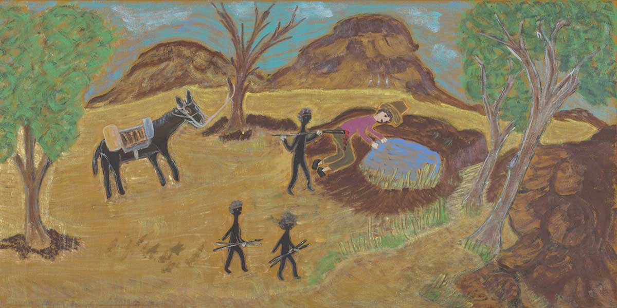 An acrylic painting on canvas showing one person being speared by another while drinking at a waterhole. There are two other people and a horse standing nearby. - click to view larger image