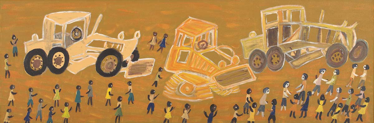 An acrylic painting on canvas in predominantly yellow tones, showing three tractors with people standing around them. - click to view larger image