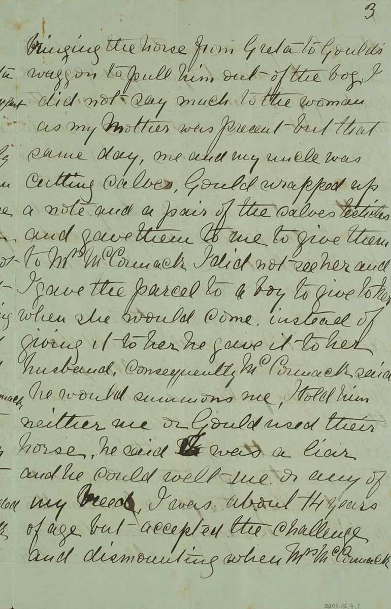 Page three of Ned Kelly's Jerilderie letter. - click to view larger image