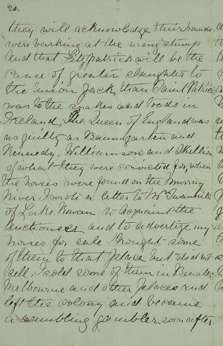 Page twenty of Ned Kelly's Jerilderie letter. - click to view larger image