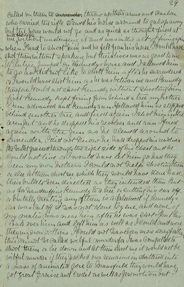 Page twenty nine of Ned Kelly's Jerilderie letter. - click to view larger image