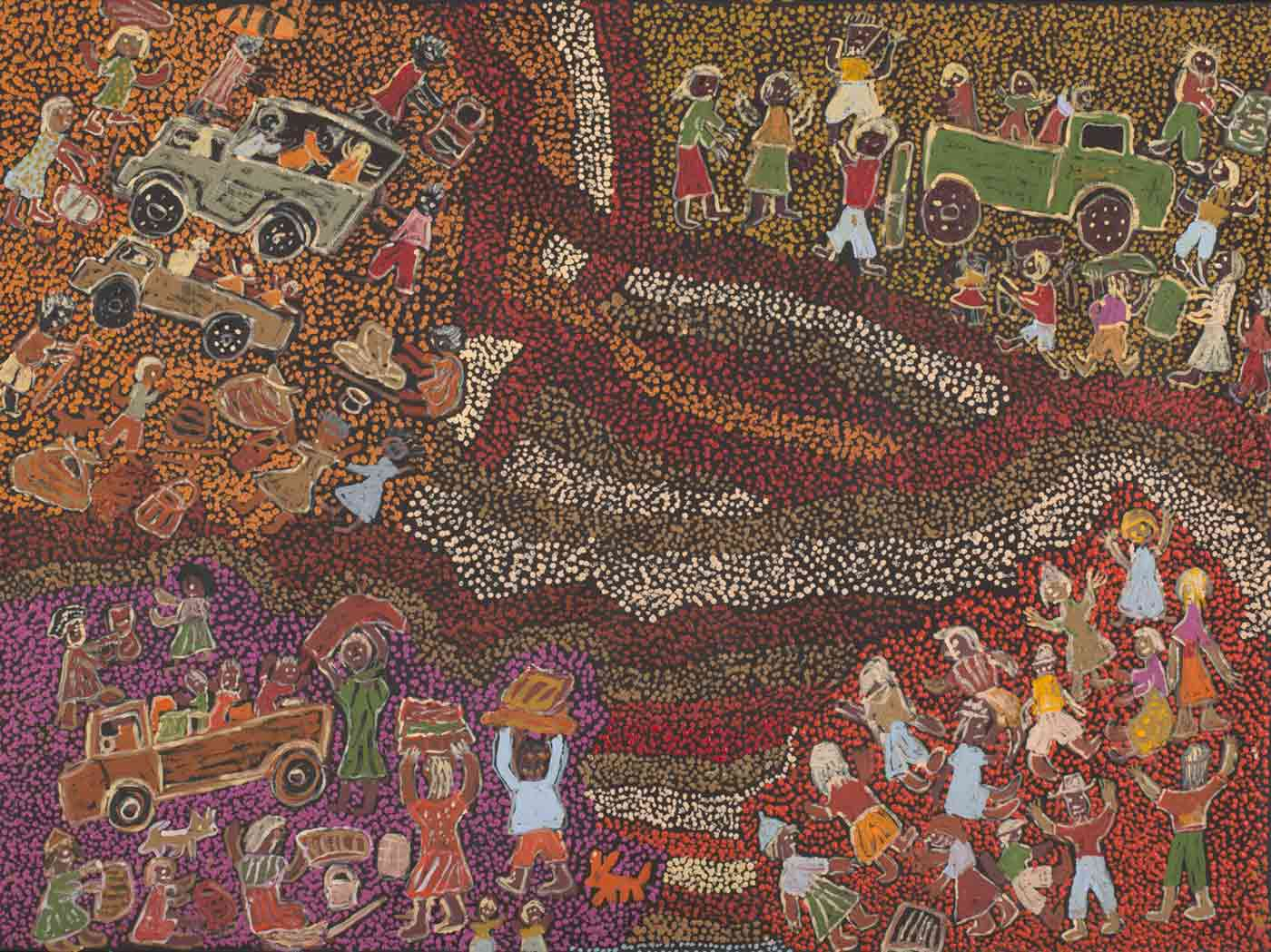 An acrylic painting on canvas showing groups of people and four vehicles, against a multi-coloured dot infill background. - click to view larger image