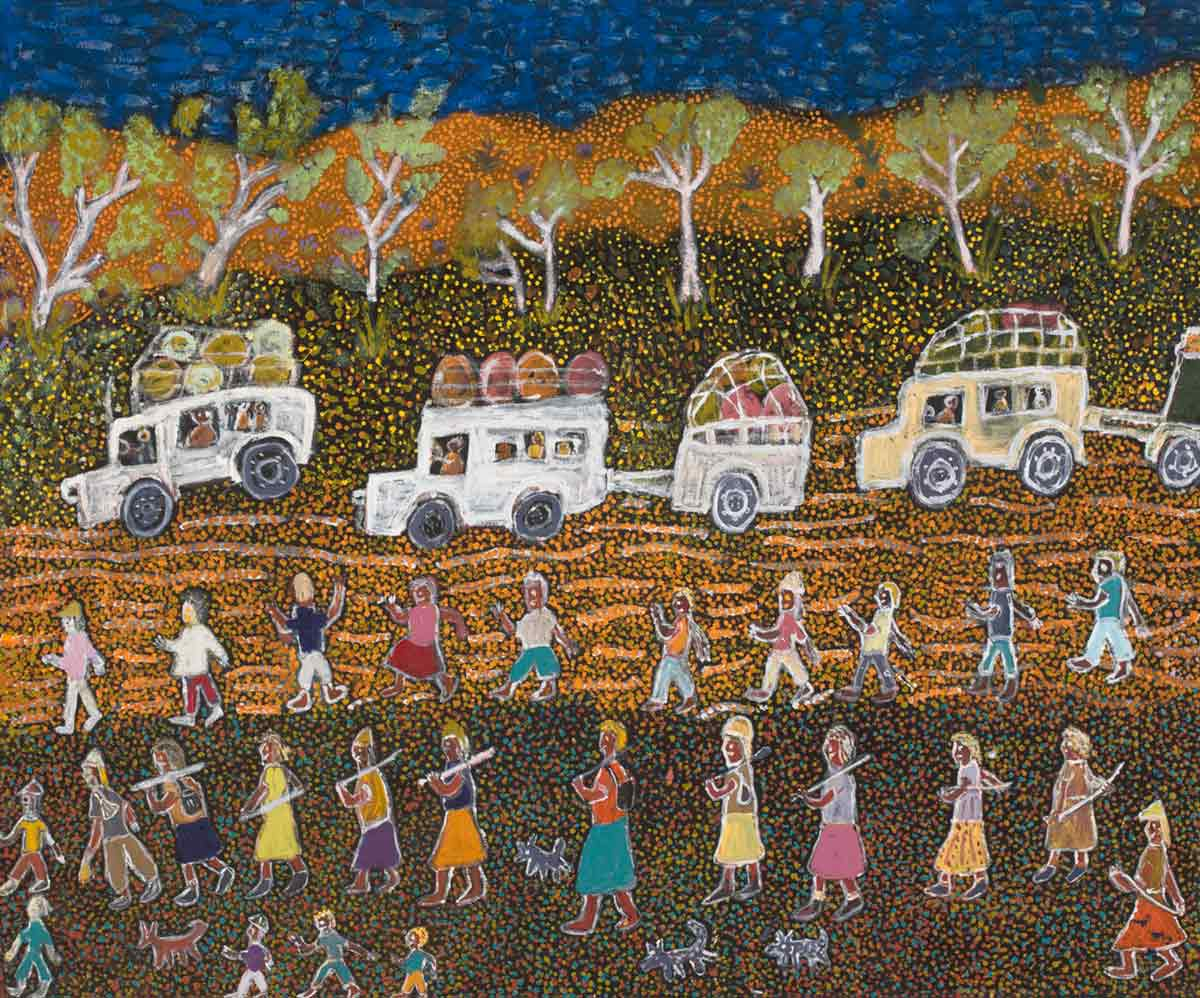 A painting depicting a blue sky and a line of trees in the background . Across the centre there are three four-wheel drives, all of which have luggage tied to the roof and two of which are pulling trailers. In the foreground there is a row of men, a row of women and several children walking across the landscape. - click to view larger image