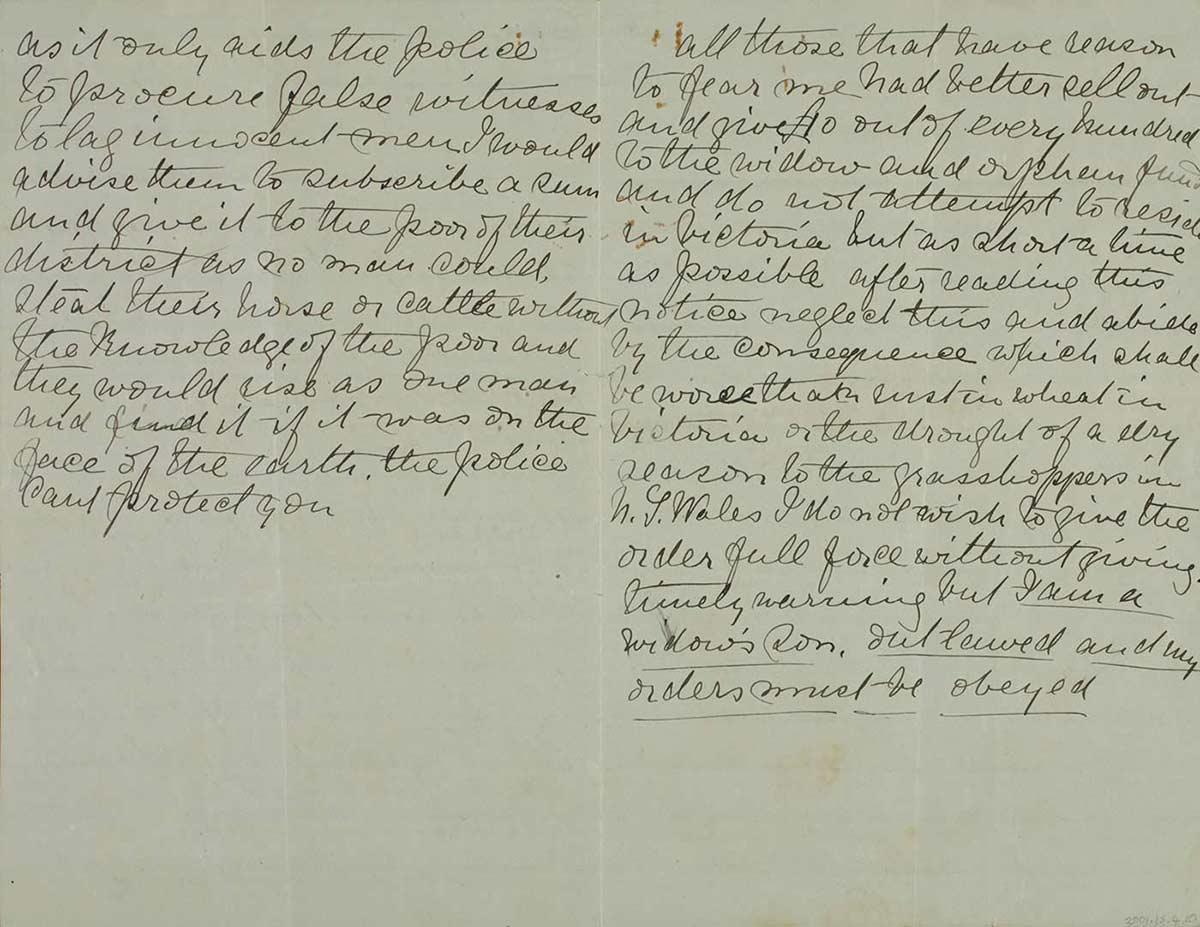 Page thirty nine and forty of Ned Kelly's Jerilderie letter. - click to view larger image