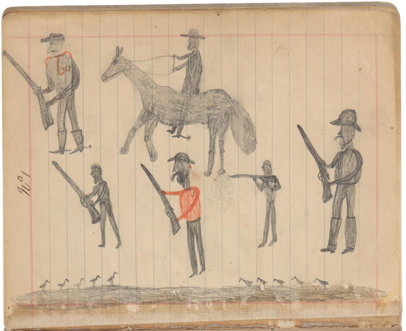 Sketchbook drawings of four figure with guns and one riding horseback - click to view larger image