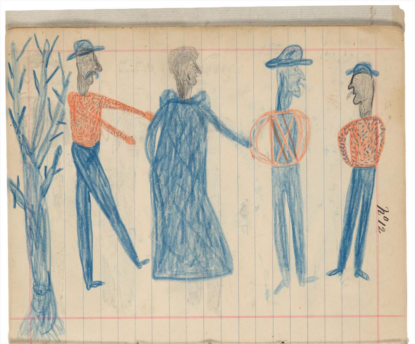 Sketchbook drawings of four figures, one woman and three men in blue and orange, and on the left a tree  - click to view larger image