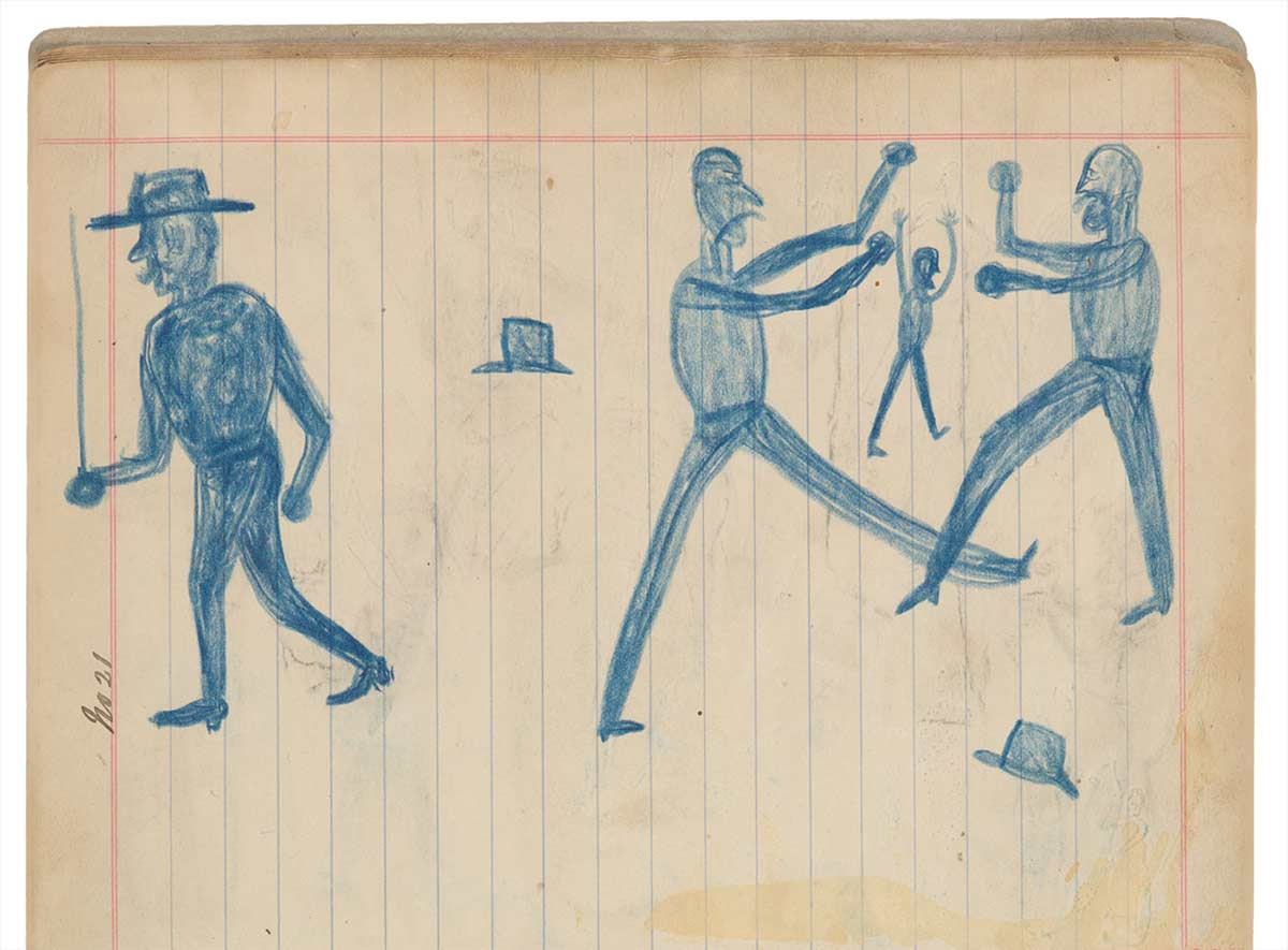 Sketchbook drawing of four blue figures. Two are fighting and their hats have come off - click to view larger image
