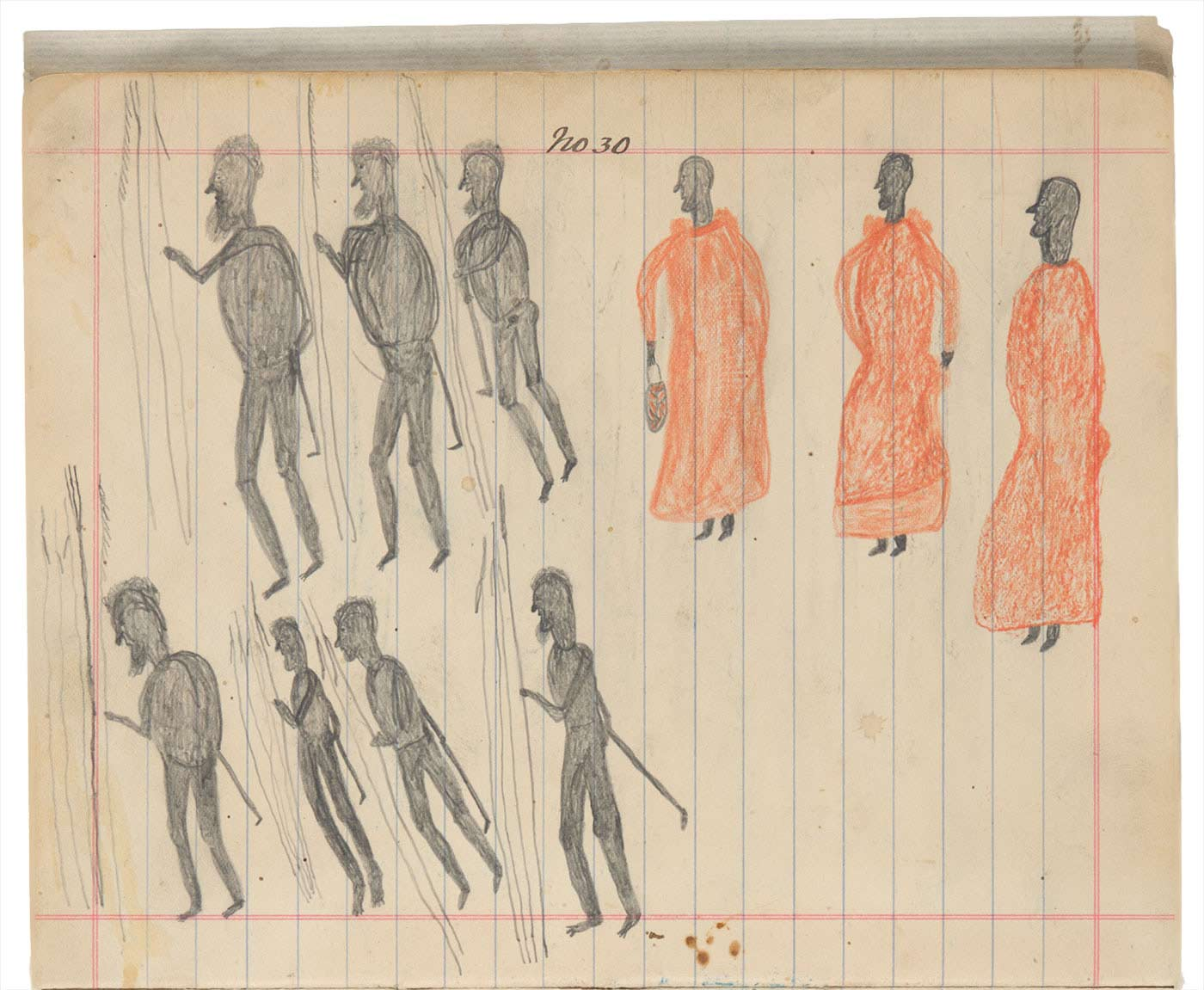 Sketchbook drawing of seven Indigenous people and three men in orange robes - click to view larger image
