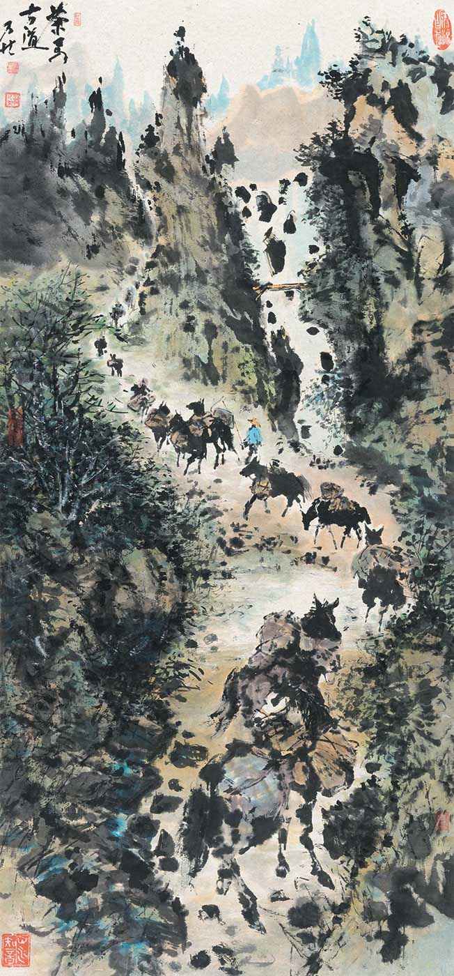 Chinese calligraphic painting in coloured inks showing horses laden with goods travelling through a mountain pass. - click to view larger image