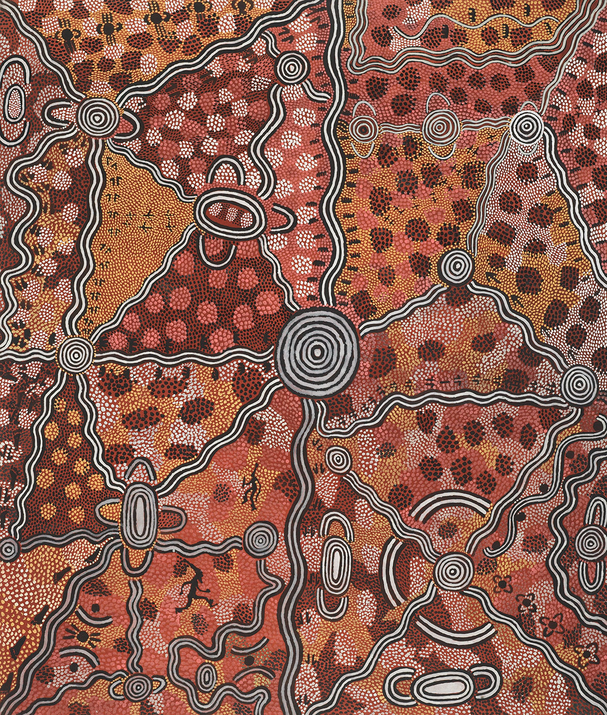 Life at Yuwa Dreaming 1974 by Billy Stockman Tjapaltjarri and Tim Leura Tjapaltjarri. - click to view larger image