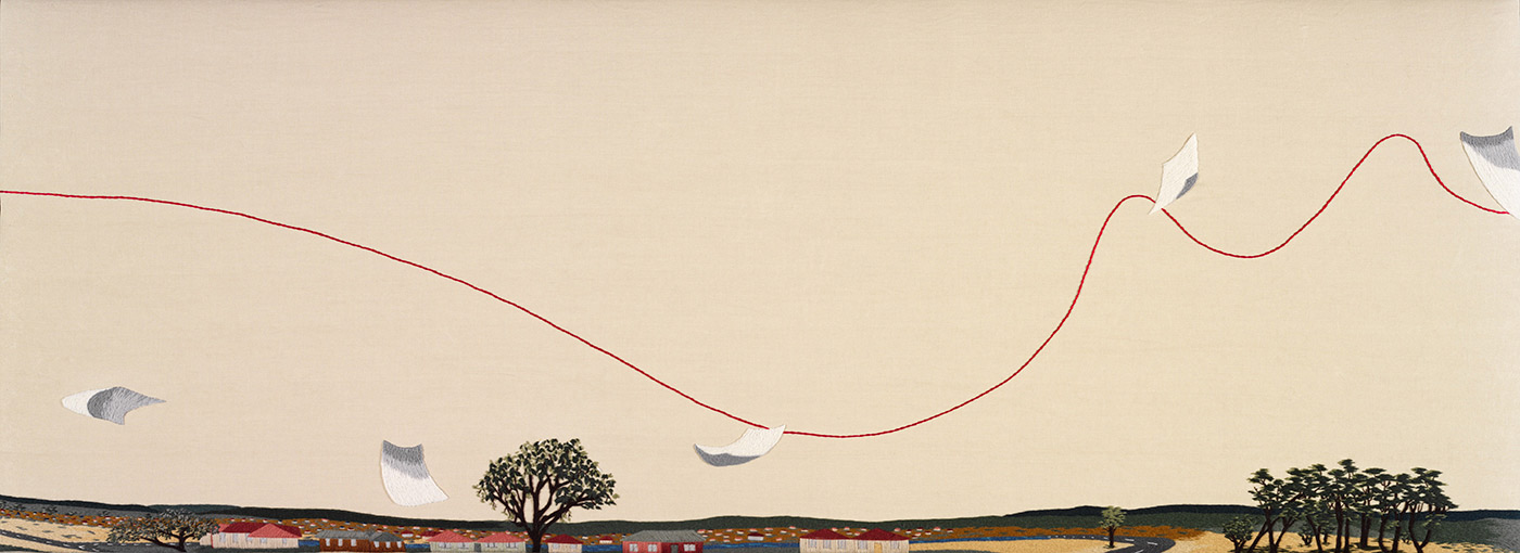 The third panel to 'The Crimson Thread of Kinship' embroidery. This panel features pieces of paper trailing across the sky and over suburbs. - click to view larger image