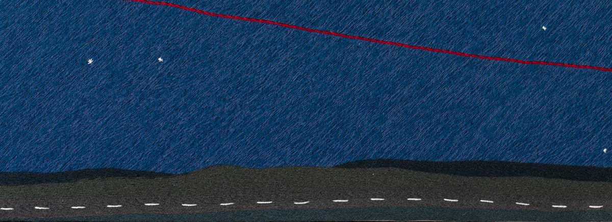 Detail from panel five featuring a long straight road. - click to view larger image