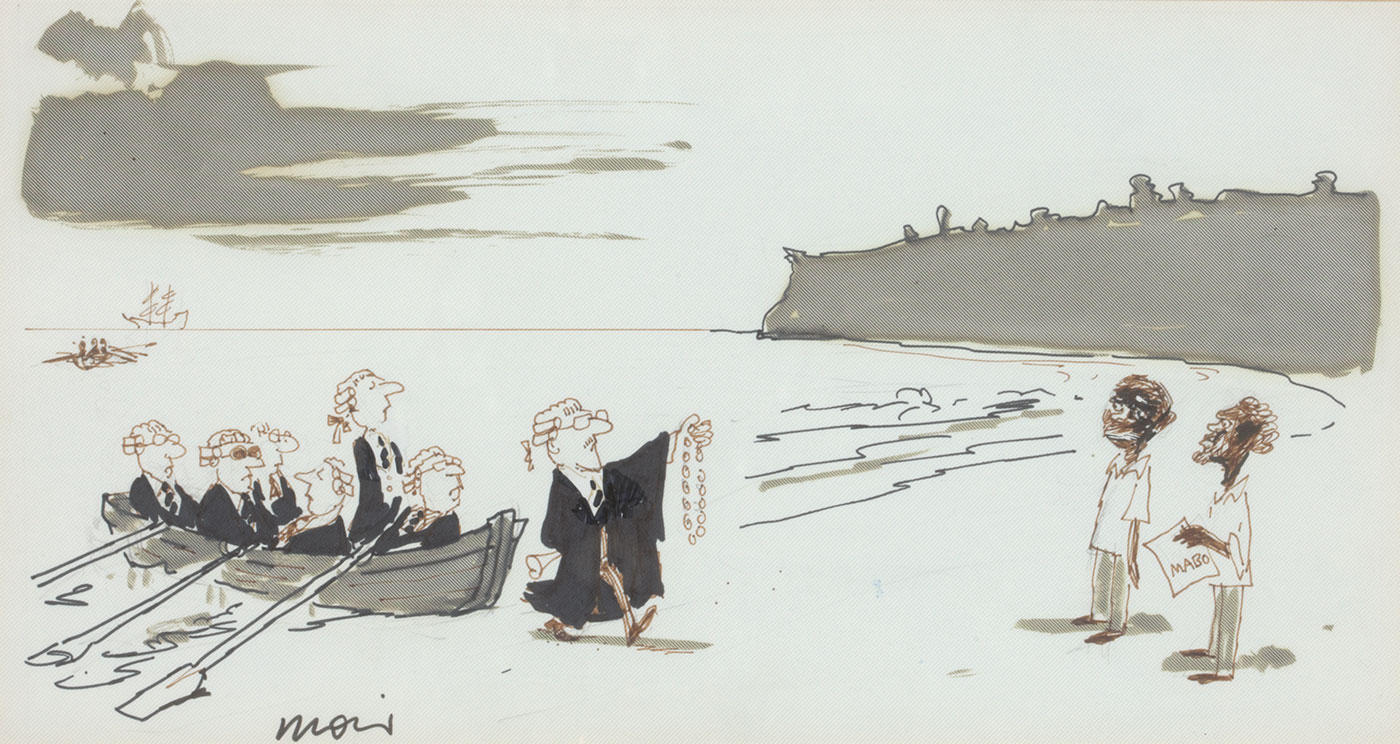 A black and white cartoon drawing featuring men dressed in legal robes who are landing on a beach in a rowing boat, and approaching two indigenous men, one of whom is holding a document labelled 'MABO'. The cartoon is signed 'Moir'. The work is framed with glass, double mats, and a black wooden frame.