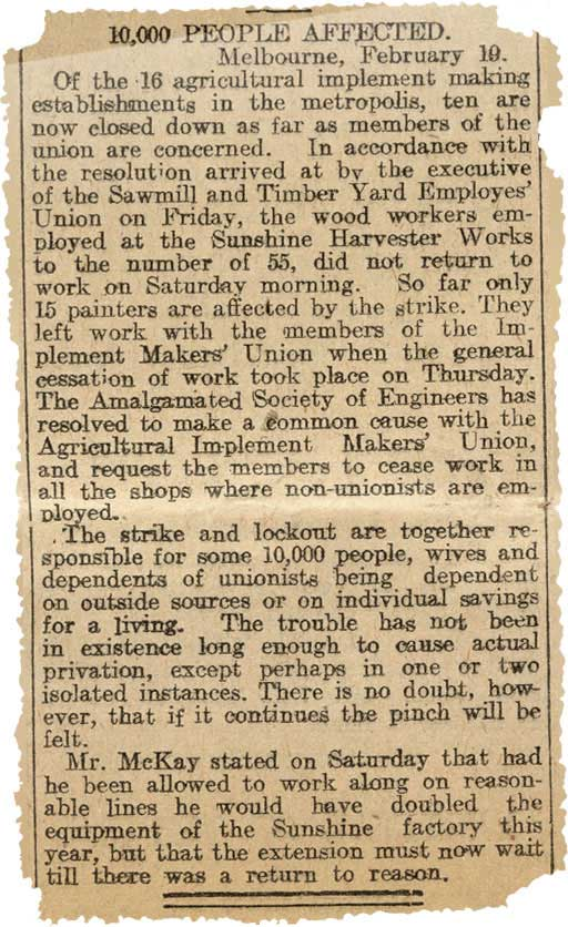 Excerpt from a newspaper titled '10,000 people affected'.