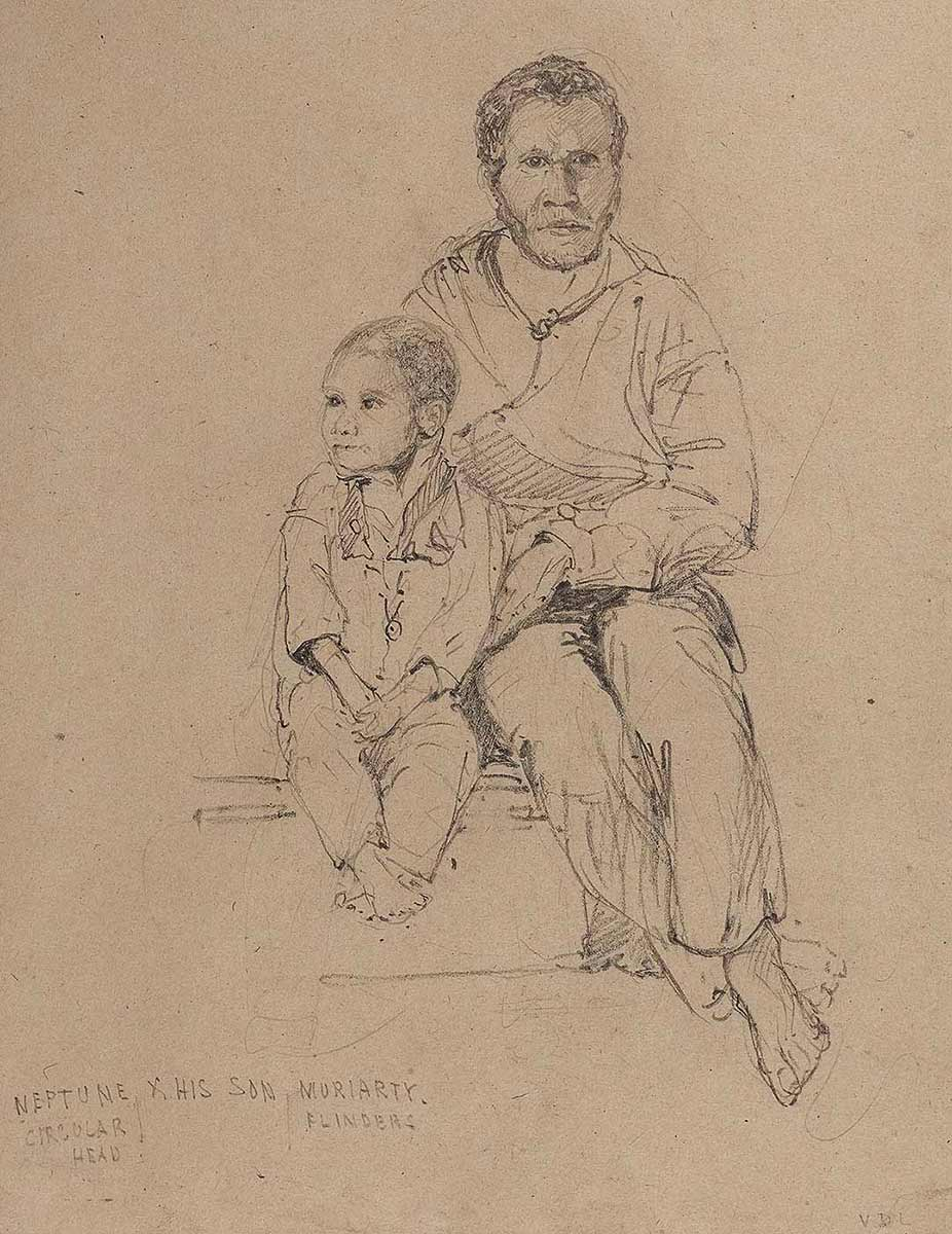 Sketch of a man with a young boy sitting closely beside him. - click to view larger image