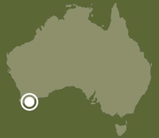 A map of Australia indicating the location of Albany, Western Australia.