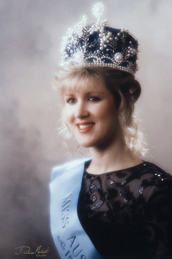 Miss Australia 1990, Rebecca Noble wearing the Miss Australia crown and sash - click to view larger image
