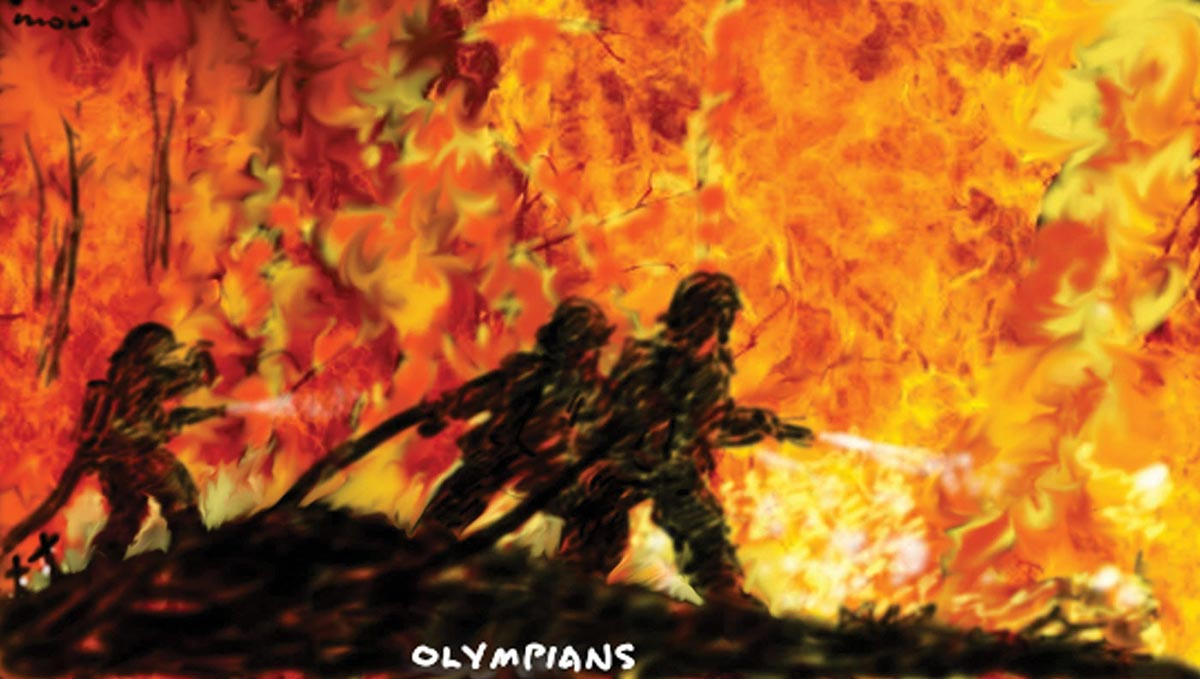 A colour cartoon depicting three silhouetted firefighters pointing hoses at a wall of red, orange and yellow flames. Two small black silhouetted crosses appear at the bottom left of the image. - click to view larger image