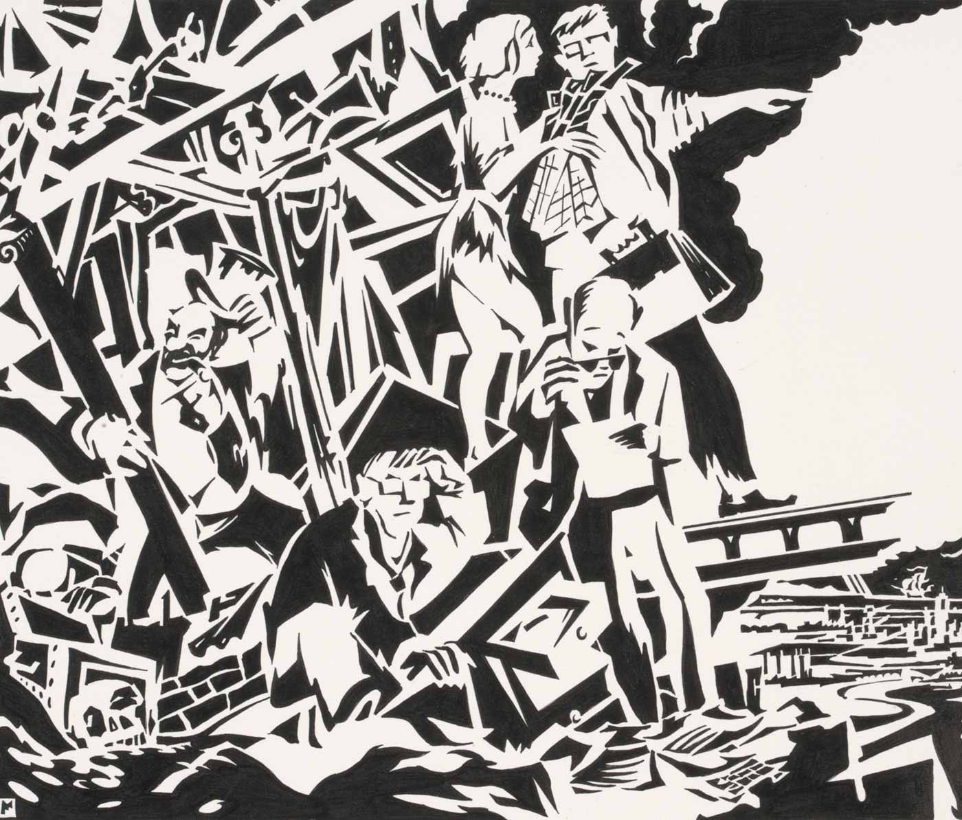 A black and white illustration showing people emerging from a wrecked building. The group includes a traditional banker figure lifting his top hat; and a man carrying a briefcase and a woman with a folded plan, both dressed in ratty clothing, pointing away from the scene.  - click to view larger image