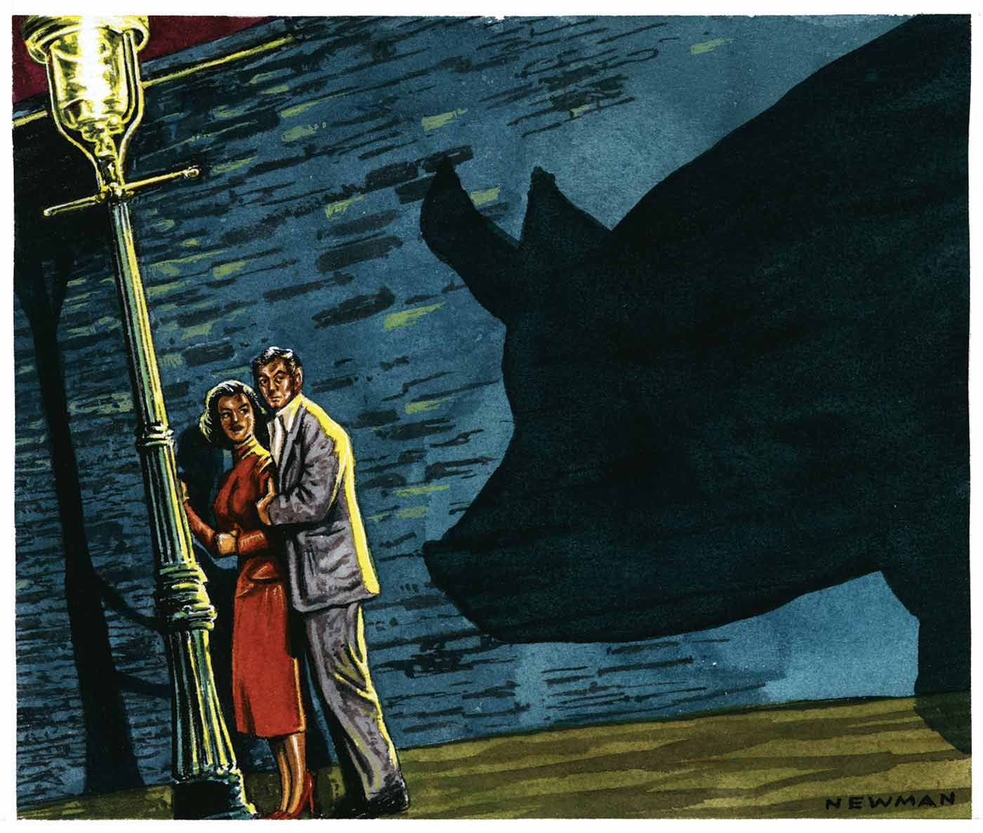 A colour illustration depicting a man and a woman standing beneath a street lamp. The light pole is at the far left of the cartoon. The woman stands closest to it, facing the pole, wearing a red dress. The man stands closely behind her, wearing a grey suit. He holds her left upper arm. Behind them is a large blue wall, onto which projects the large shadow of a pig. The pig itself is unseen, however the man and woman both look apprehensively in its direction. - click to view larger image