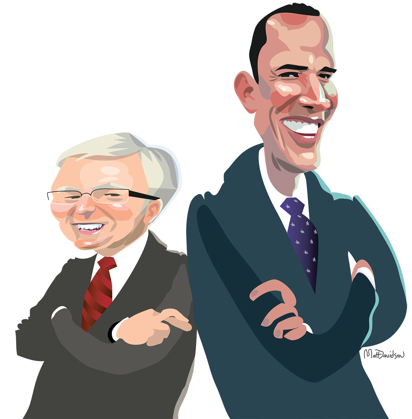 Colour caricatures of Barack Obama and Kevin Rudd. They stand back to back, with President Obama at the right of the image. Both wear suits, have their arms folded and smile broadly. Mr Rudd's right hand is visible over his left arm. He has the first two fingers of this hand crossed. - click to view larger image