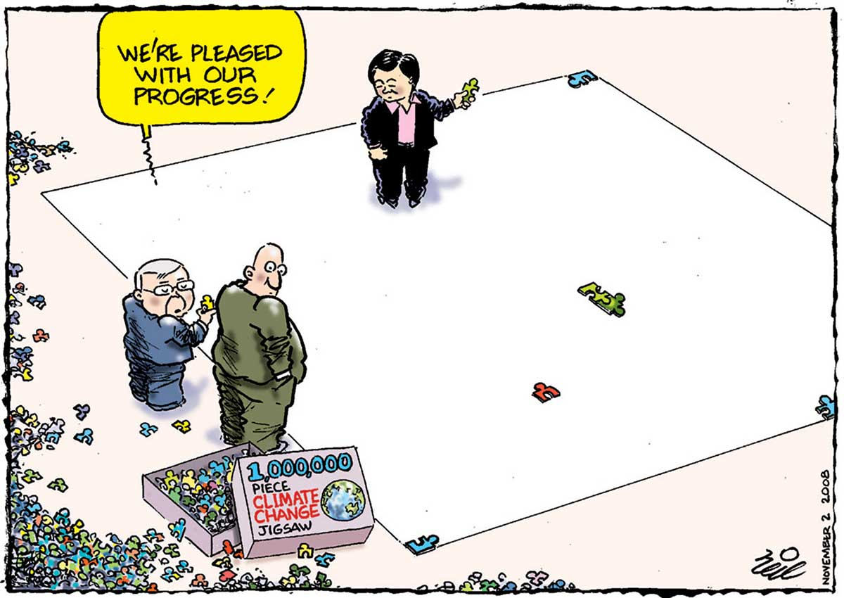 A colour cartoon depicting Kevin Rudd and another man stand beside a large, mainly blank canvas, looking at a box marked '1,000,000 piece climate change jigsaw'. The box contains numerous small jigsaw pieces and others are strewn about the floor. Penny Wong stands on the canvas, where a few pieces have been placed. - click to view larger image