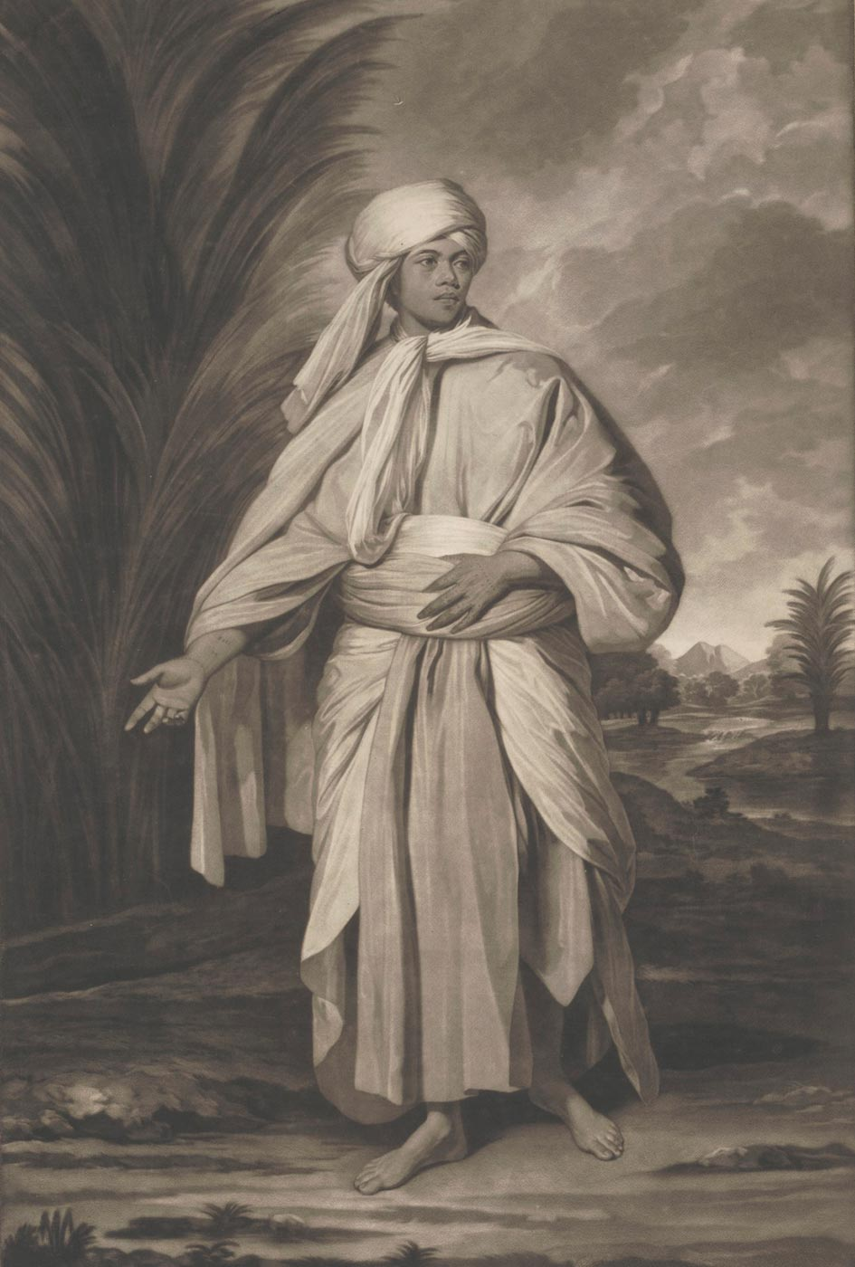Omai, a Native of the Island of Utietea (Ulietea) 1780 by Johann Jacobe, after Sir Joshua Reynolds. - click to view larger image