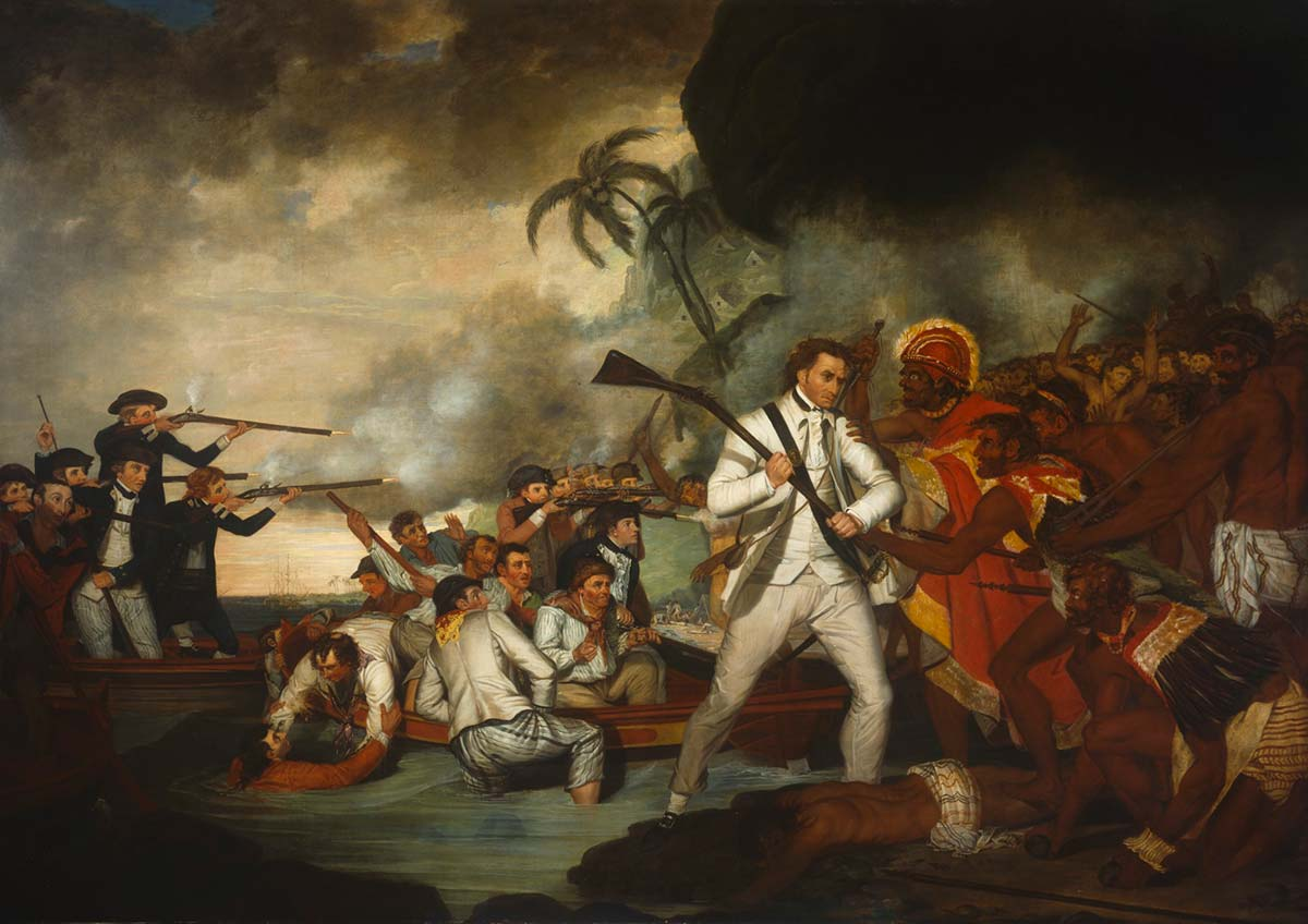 Oil painting of a scene where Captain Cook, holding a weapon, is facing a large group of men also holding weapons. There's a body on the ground at Cook's feet and behind him is a couple of groups of men dressed similarly to him.