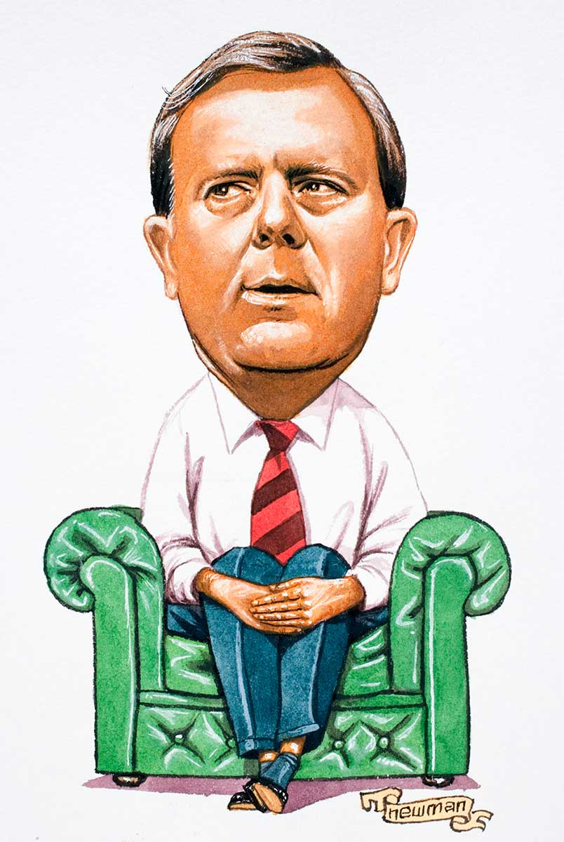 Cartoon of Peter Costello sitting in a green leather chair with both hands folded over his knees, his eyes looking to his right and waiting - click to view larger image