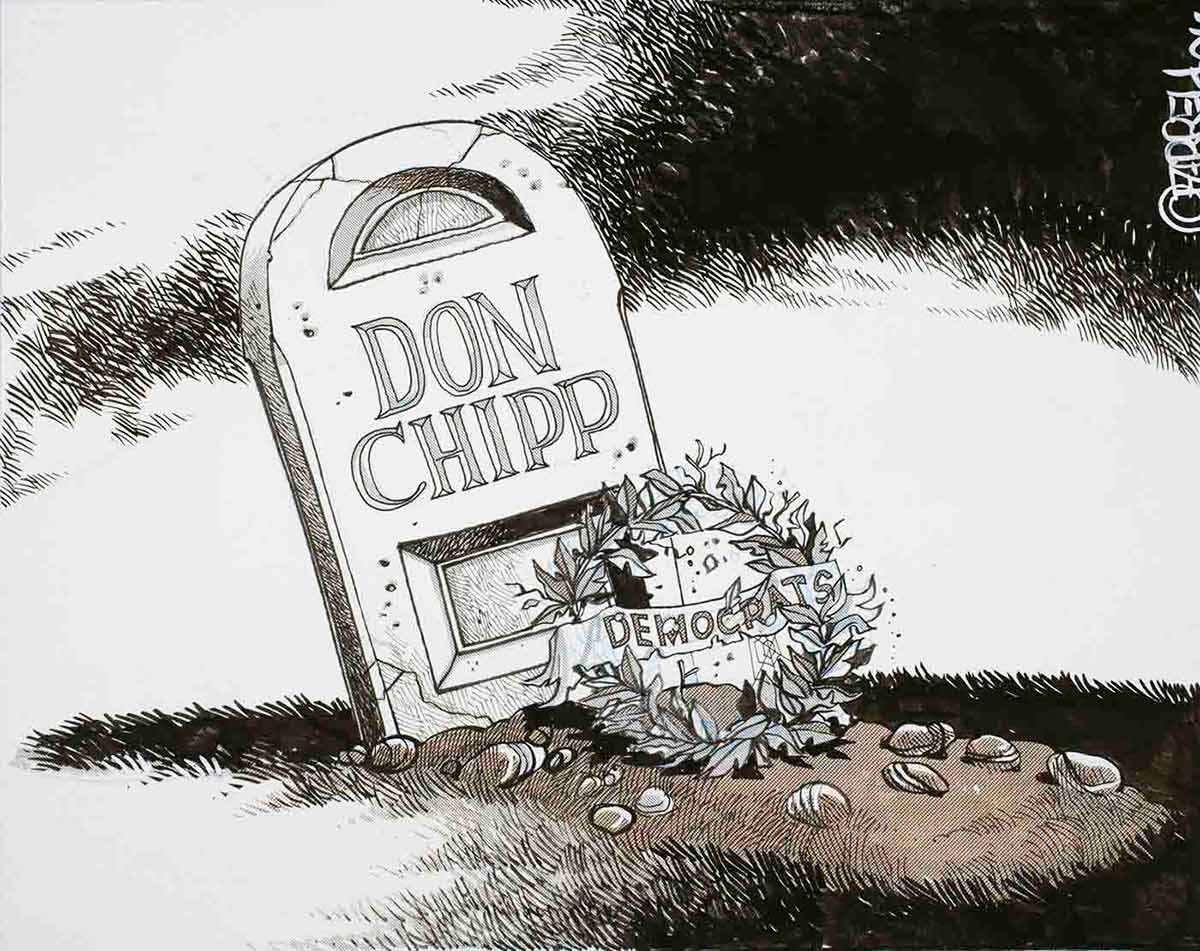 Cartoon of a grave site with the headstone reading 'Don Chipp' and a wreath marked Democrats lying against it - click to view larger image