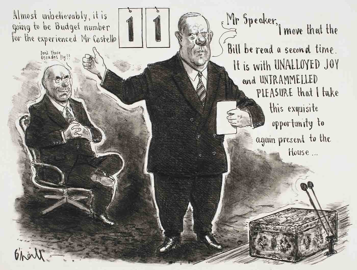 "Cartoon showing Peter Costello presenting Budget number 11 - John Howard is in the background saying ""Don't those decades fly!"" - click to view larger image"