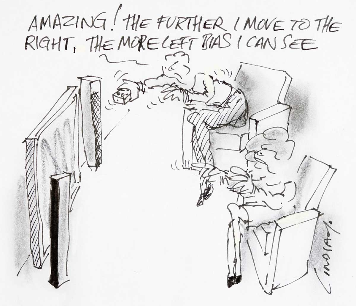 "Cartoon of two people watching ABC TV and one person commenting, ""Amazing!, the further I move to the right, the more left bias I can see"" - click to view larger image"