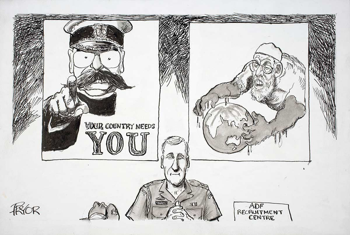 Cartoon of an Australian Defence Force officer sitting at a desk in the ADF Recruitment Centre with two posters behind him. One shows a military officer pointing his finger with the slogan, 'Your country needs you'; the other shows a man of Muslim origin with big monster like arms grabbing the globe of the world - click to view larger image