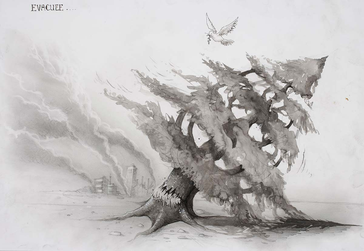 Cartoon of a peace dove fleeing a burning city, flying over a fallen tree - click to view larger image