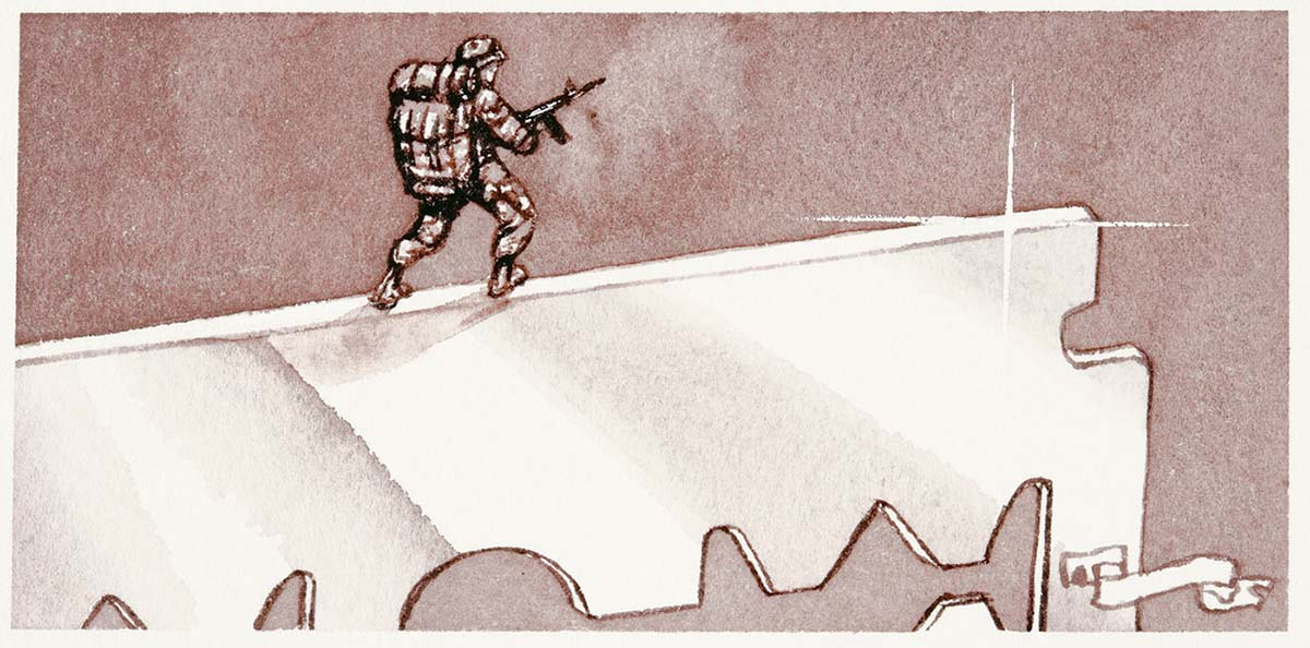 Cartoon of an army soldier walking along the edge of a very large razor blade - click to view larger image