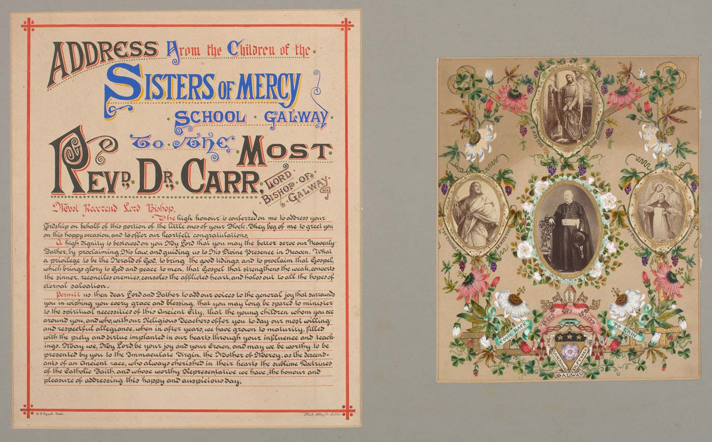 Page from a religious-themed book featuring calligraphy, ornate borders and illustrations.