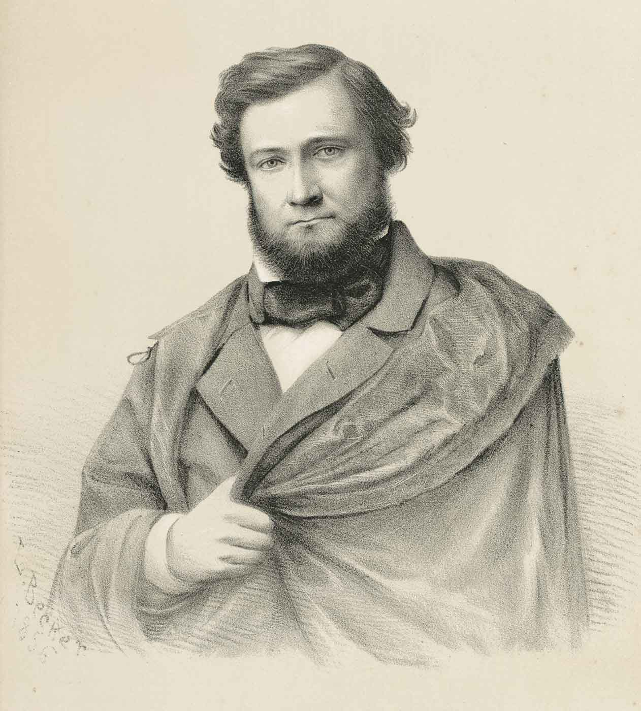 Sketch of a portrait of a man with a beard and wearing 19th Century attire. - click to view larger image