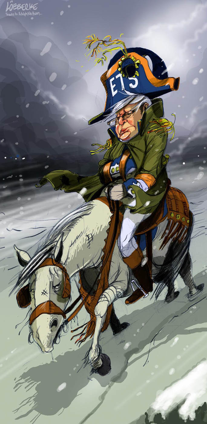 A colour cartoon depicting Kevin Rudd wearing military clothing from the Napoleonic period. His hat has 'ETS' on the front. Like Napoleon, he has one hand thrust into his coat. He is riding a tired white horse. Around them blows a harsh wind and snow flurries. The ground is covered in snow and the background sky is dark and ominous.  - click to view larger image
