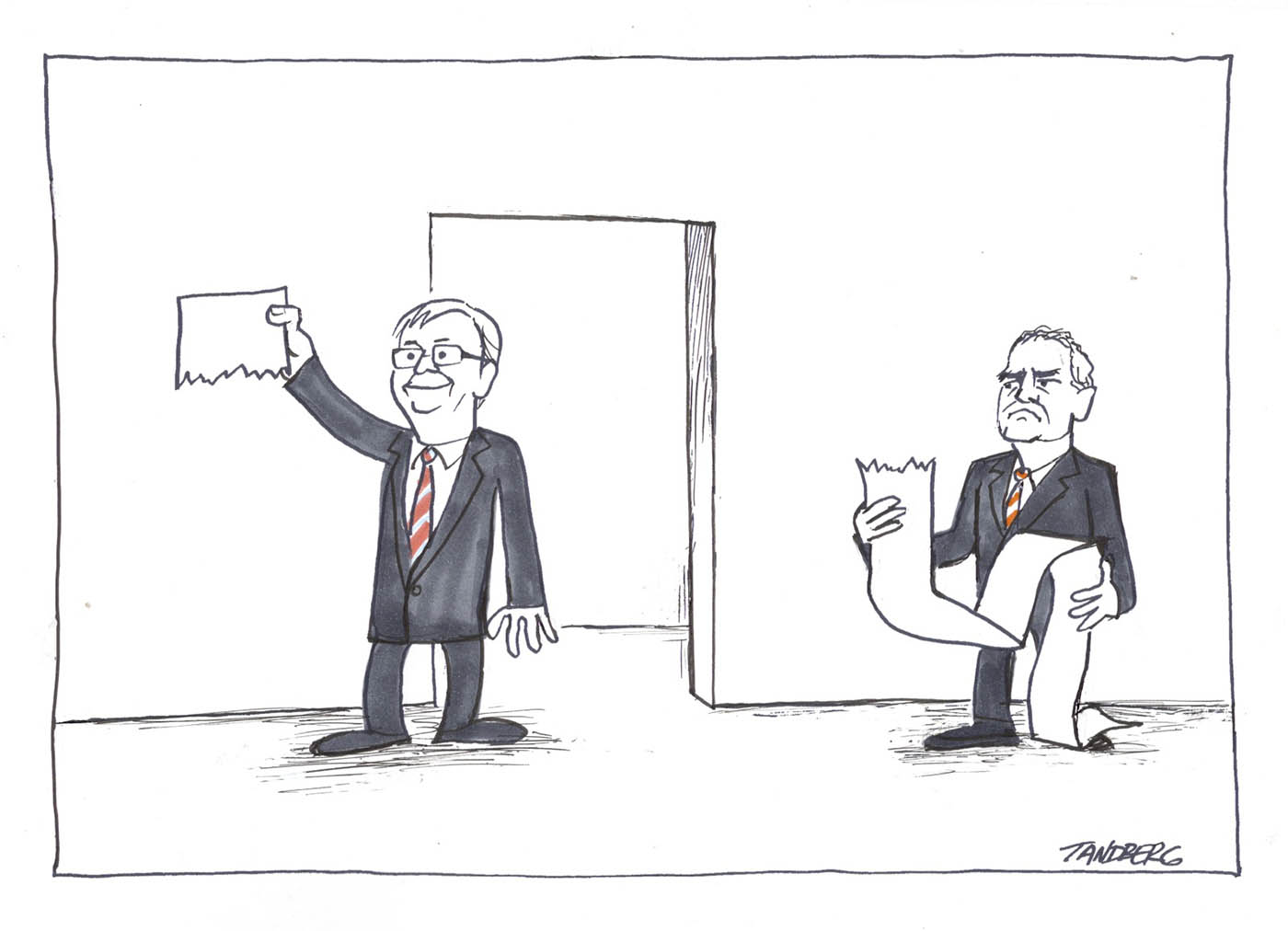 A mostly black and white cartoon depicting Kevin Rudd and Ken Henry. Kevin Rudd has emerged from a doorway, holding aloft a short piece of paper with a torn bottom edge. He smiles triumphantly. To the right of the doorway stands Ken Henry, holding a very long piece of paper with a torn top edge. He looks annoyed. Both men wear dark suits with red and white striped ties.  - click to view larger image