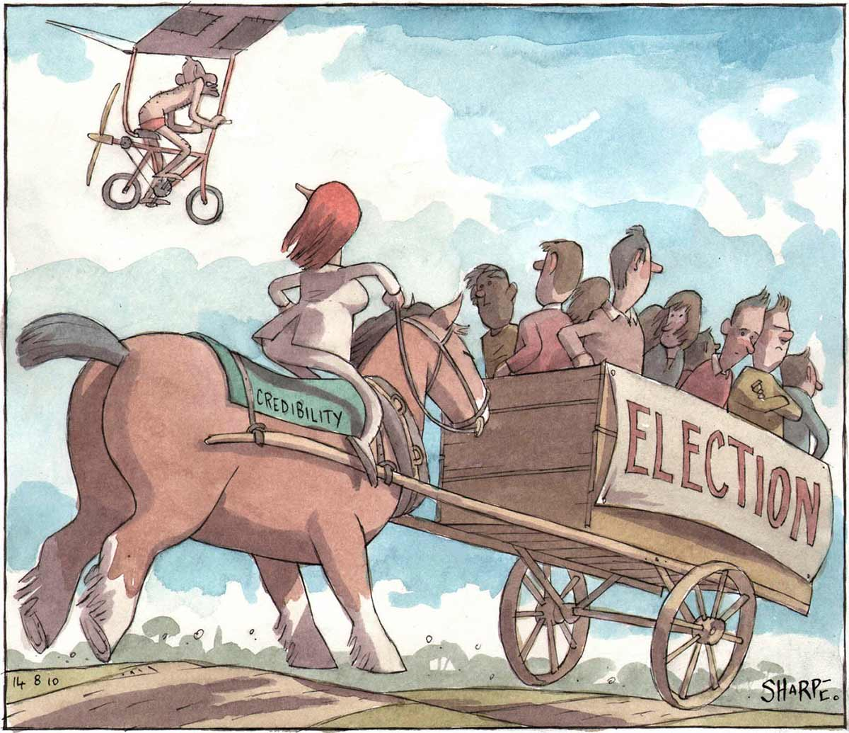 A colour cartoon depicting Julia Gillard galloping across a landscape on a large horse. The horse has 'Credibility' on the blanket on its back, and is attached to a cart in front of it. On the side of the cart is a sign that says 'Election'. In the cart are several people, looking in different directions. One man has his arms folded and looks annoyed. In the sky nearby, Tony Abbott is seen pedalling a flying bicycle, with wings and a propellor on the back. He heads in the same direction as Gillard, and wears a pair of red swimming trunks. She looks up at him.