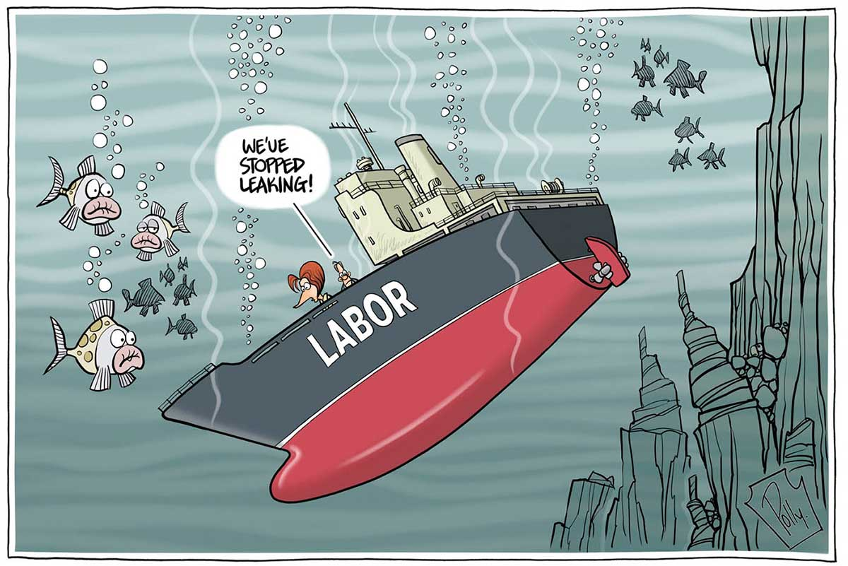 A colour cartoon depicting a sinking ship. The ship has a red and grey hull and 'Labor' on the side of the hull. It is sinking down into the depths of the ocean, watched by some fish. On the deck stands Julia Gillard and a man. The man is saying to her 'We've stopped leaking!'  - click to view larger image