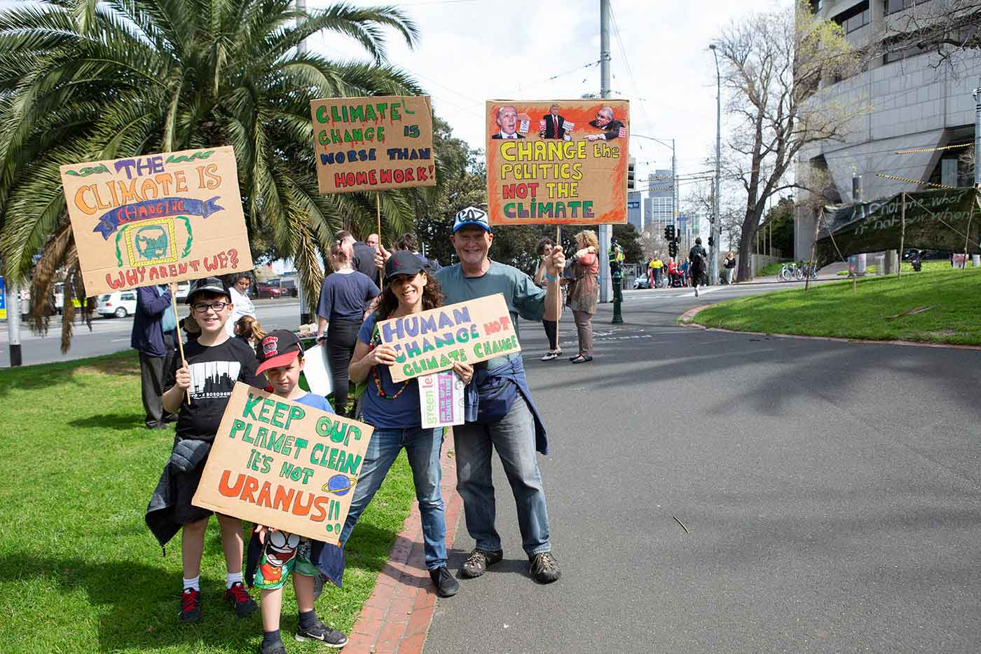 Protesters at a rally against climate change. - click to view larger image