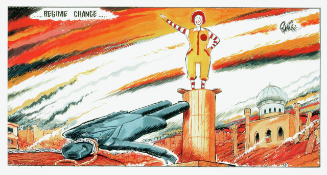 This cartoon depicts a toppled statue of Saddam Hussein replace with a statue of Ronald McDonald. In the background is a ruined city.  - click to view larger image