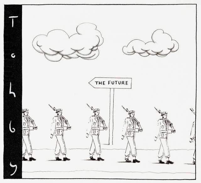 A black and white cartoon. A row of soldiers with rifles over their shoulders march to the right. A sign behind labelled 'The future' points to the left. - click to view larger image